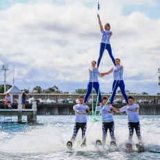 Stars Downunder Waterski and Stunt Show,  Sunday, day three of racing, Festival of Sails 2016, Geelong.  Picture Craig Greenhill, Saltwater Images