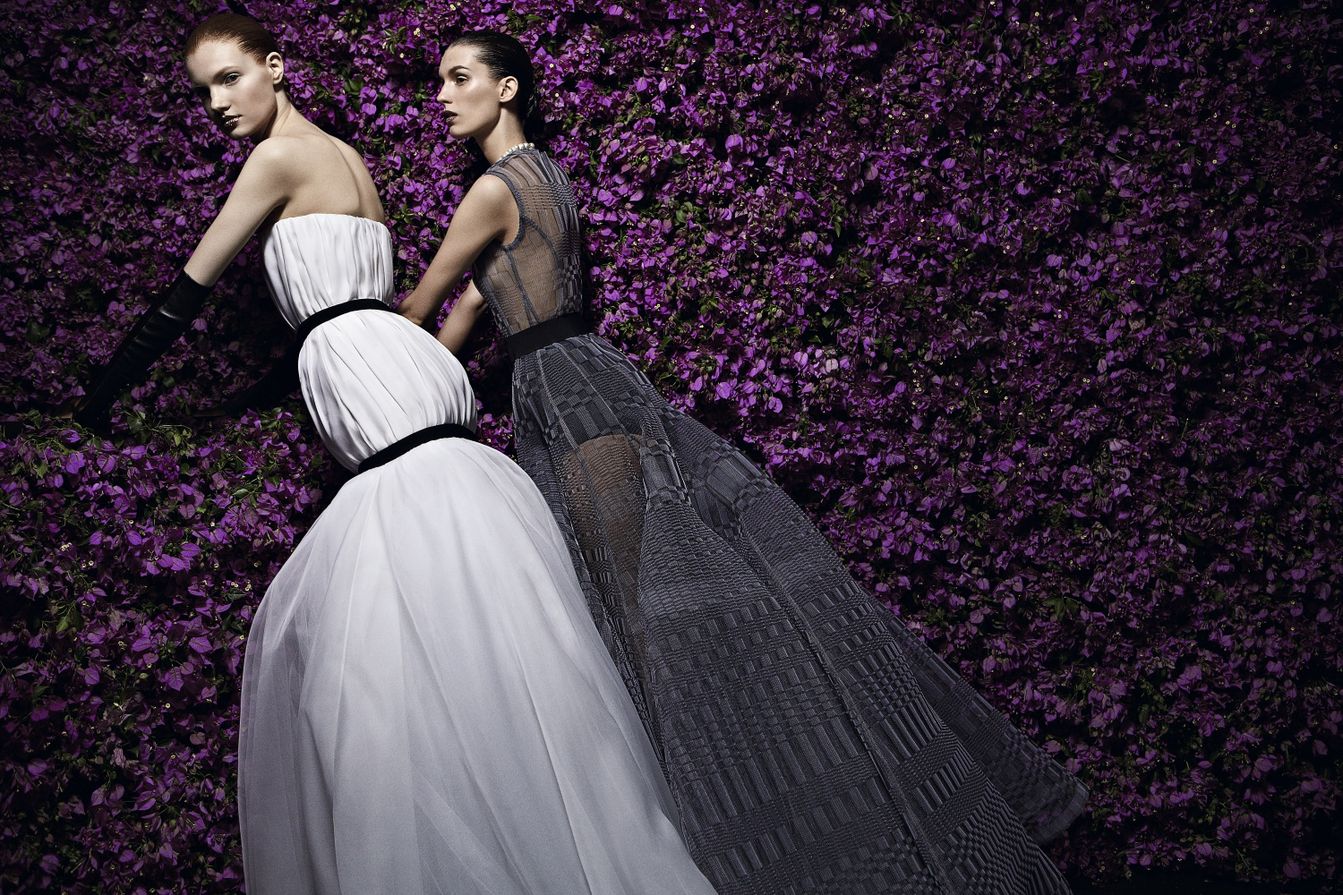 Christian Dior, Paris (fashion house); Raf Simons (designer) Look 37, evening dress and Look 38, evening dress autumn−winter 2013–14 haute couture collection Photo © Patrick Demarchelier/Licensed by Art+Commerce Models: Anastasia Ivanova, Premier Model Management and Marte Mei van Haaster, Viva Paris